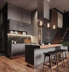 27 minimalist and modern kitchen decor you will love it 1 - Home Decor Interior Modern Kitchen Design, Interior Design Kitchen, Home Design, Interior Ideas, Farmhouse Interior, Interior Modern, Bath Design, Farmhouse Style, Luxury Interior