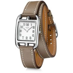 Hermes Cape Cod Silver Dial Taupe Leather Ladies Watch ($1,925) ❤ liked on Polyvore featuring jewelry, watches, leather wrist watch, leather-strap watches, wrap watches, leather wrap around watches and square watches