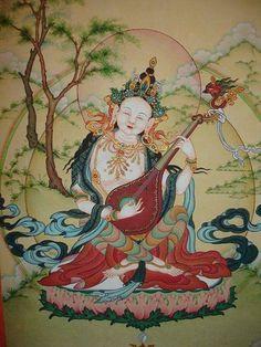 Sarasvati, the Goddess of Wisdom and Music Tibetan Art, Tibetan Buddhism, Saraswati Devi, Green Tara, Buddha Art, Sacred Feminine, Embroidery Motifs, Expressive Art, Mural Painting