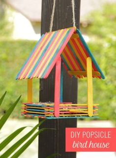 Popsicle stick art Embrace your inner Snow White and bring birds to your backyard with this adorable DIY Popsicle Bird House. Grab some colorful popsicles, hot glue, and start building! Let your little ones help you create this fun craft. Toddler Crafts, Kids Crafts, Diy And Crafts, Arts And Crafts, Decor Crafts, Magic Crafts, Family Crafts, Easy Crafts, Homemade Bird Feeders