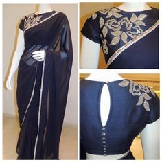 Plain saree with patch work blouse
