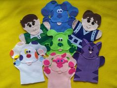 Blues Clues puppets-Blue, Magenta, Steve, Green Puppy, Perwinkle
