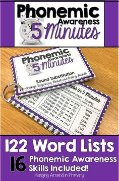 These phonemic awareness word lists are perfect teacher led activities for kindergarten, first and second grade students.  Use these word list cards after doing an  assessment to determine where your kids are at with skills like rhyming and blending.  These cards are also perfect for teaching intervention groups with older kids as well. There are many skills included such as segmenting, blending, manipulating sounds and syllables.