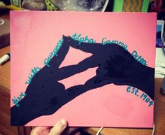 Alpha Gamma Delta hand symbol painting by PaintingsByCait on Etsy, $15.00