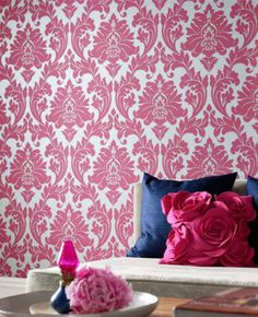 Majestic: Hot Pink Wallpaper from www.grahambrown.com- Concept Candie Interiors offers virtual interior design services for the affordable price of $200.00 per room!