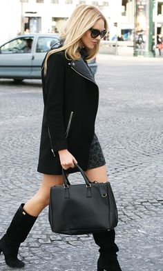Peace Love Shea: dress Corey Lynn Calter, boots DVF, jacket Zara, bag Prada, sunnies Prada