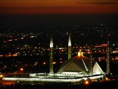 Night view of Faisal mosque, Islamabad