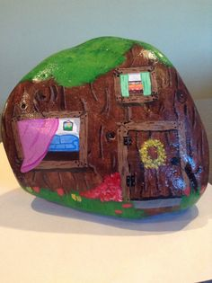 Hand painted gnome house garden rock. Gnome by SheilasGardenGirls