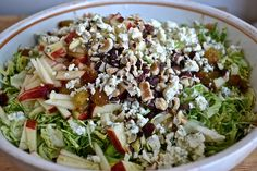 Brussels Sprouts Salad with Apples, Blue Cheese and Hazelnuts and Meal Plan | eating in instead