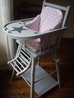 Chaise bébé vintage restaurée.