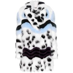 Fendi Printed Fur Coat (1,217,615 PHP) ❤ liked on Polyvore featuring outerwear, coats, white, colorful coat, fendi, fendi coat, white fur coat and colorful fur coat