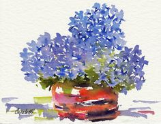 Blue Hydrangea - an original watercolor painting by Barb Capeletti. Available on Etsy. Watercolors, Watercolor Paintings, Orchid Color, Blue Hydrangea, Note Cards, Giclee Print, Orchids, Great Gifts, Artist