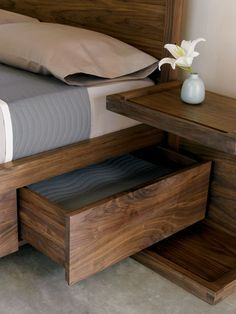 Bed with storage &  night stand. Love this bed. Maybe a slightly lighter wood stain.