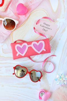 DIY this heart-shaped sunglass case by following this Valentine's Day project.