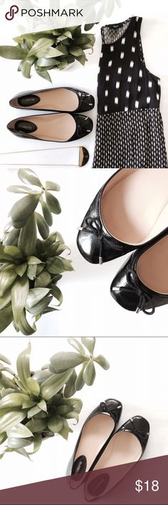 Ballet black flats with bows These are adorable shoes...I just don't use them often to justify keeping them. Great condition with very little visible wear...see pics. Size 8 but run a touch big. Simple. Minimalistic. Classy. Liz Claiborne Shoes Flats & Loafers