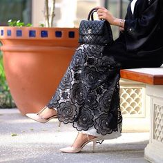 Image may contain: 1 person Abaya Fashion, Modest Fashion, Skirt Fashion, Modest Dresses, Modest Outfits, Hijab Fashion Inspiration, Style Inspiration, Abaya Pattern, Mode Abaya