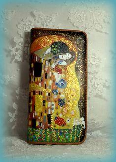 portafogli dipinti a mano#portafogli dipinti#il bacio klimt#hand-painted wallets#