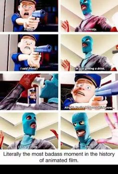 The Incredibles - Frozone is a bonafide bad ass! Walt Disney, Disney Magic, Disney And Dreamworks, Disney Pixar, Disney Jokes, Funny Disney, Fandoms, The Incredibles, Pixar Movies