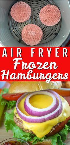 Air Fryer Recipes Hamburger, Air Fryer Oven Recipes, Air Fry Recipes, Air Fryer Dinner Recipes, Ninja Recipes, Easy Recipes, Air Fryer Cooking Times, Cooks Air Fryer, Frozen Burger Patties
