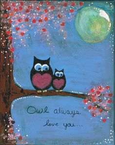 Cute Owls in trees | Original Whimsical Mixed Media Owl with Heart Tree Flower Glitter ...