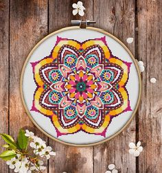 Mandala Flower Cross Stitch Pattern for Instant Download