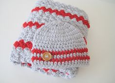 Crochet Baby Blanket Set, Nursing Blanket, Baby Blanket Set, Stroller-Car Seat Blanket & Hat - Grey Red Baby Blanket Set - Ready To Ship by PeppersAttic on Etsy