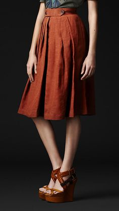 Orange Burberry Skirt
