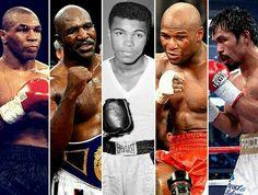 Five Champion Boxers: Mike Tyson, Evander Holyfield, Muhammad Ali, Floyd Mayweather Jr. e Manny Pacquiao Mike Tyson, Manny Pacquiao, Floyd Mayweather, Kick Boxing, Muay Thai, Jiu Jitsu, Aikido, Karate, Float Like A Butterfly