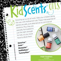 Essential Oils for Kids - Young Living has a whole line of KidScents oils, specially formulated and pre-diluted for kids.  :)