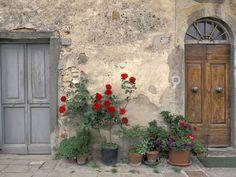Tuscan Doorway in Castellina in Chianti, Italy Fotografie-Druck
