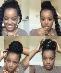Black Kids Braids Hairstyles, Black Hairstyles With Weave, Braided Bun Hairstyles, Cute Hairstyles, Braided Ponytail, Updo, Natural Hair Bun Styles, Long Hair Styles, Black Hair Bun