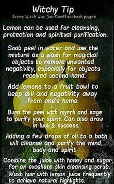 Witchy Tip lemon ✯ Visit lifespiritssocietyofmagick.ctopsom for love spells, wealth spells, healing spells, and LOA info. Magick Spells, Witchcraft, Healing Spells, Voodoo Spells, Witch Herbs, Eclectic Witch, Herbal Magic, Magic Herbs, Witch Spell