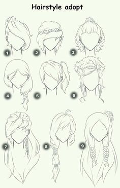 Hairstyle Adopt, text, woman, girl, hairstyles; How to Draw Manga/Anime - more at megacutie.co.uk