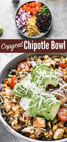 This homemade Chipotle Bowl tastes like a Chipotle chicken burrito bowl but is better for you and better tasting too! An easy, healthy meal.#chicken #burritobowl #healthydinners #wellplated Chipotle Burrito Bowl, Chicken Burrito Bowl, Chipotle Chicken, Healthy Meals, Healthy Eating, Healthy Recipes, Homemade Chipotle, Clean Eating Dinner, Copycat Recipes