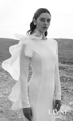 alon livne 2018 2019 white bridal long sleeves jewel neck clean simple minimalist elegant modern sheath wedding dress (melissa) mv -- Livné White Wedding Dresses are Perfect for the Modern Bride | Wedding Inspirasi #wedding #weddings #bridal #weddingdress #bride ~