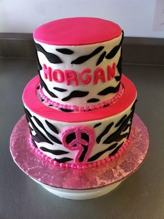 Zebra print 9th birthday cake