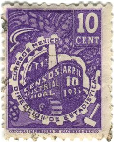 postage stamp: industrial census c. 1935 Mexico