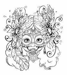Skull Coloring Pages, Fairy Coloring, Cute Coloring Pages, Printable Coloring Pages, Coloring Books, Colouring Sheets, Colorful Drawings, Colorful Pictures, Art Drawings
