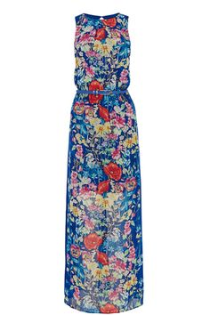 Pass the sangria - this maxi dress defiantly has us in the holiday mood. It's rich blue is the perfect canvas to the pastel floral print, finished off with a high neck, button fastening on the reverse, a gorgeous blue belt to draw attention to the waist and a slight split on the skirt