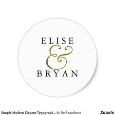 Simple Modern Elegant Typography Wedding Sticker