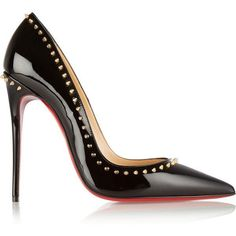 Christian Louboutin Anjalina 120 studded patent-leather pumps ($835) ❤ liked on Polyvore featuring shoes, pumps, heels, sapatos, christian louboutin, black, high heel shoes, black pointed pumps, black pointy pumps and black studded pumps #blackhighheelspumps