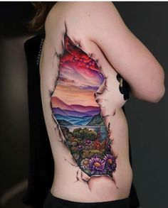 Landscape side piece by Andres Acosta, an artist at Exile Art Collective in Austin, Texas. Dope Tattoos, 3d Tattoos, Sleeve Tattoos, Side Piece Tattoos, Tattoo Care, Tattoo Ink, Landscape Tattoo, Tattoo Spirit, Landscape Concept