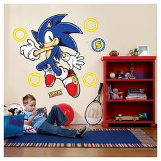 Voguish Sonic the Hedgehog Giant Wall Decals. Recent collection of Sonic the Hedgehog Backdrop Wall Stickers (Add-Ons) for Birthday, Birthday at PartyBell. Sonic Birthday Parties, Sonic Party, Birthday Ideas, 7th Birthday, Birthday Celebration, Super Mario Bros, Sonic The Hedgehog, Hedgehog Birthday, Nerd