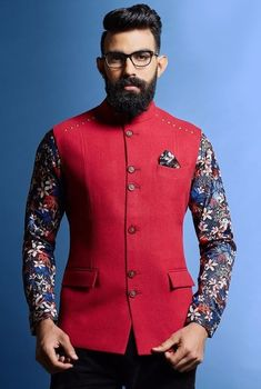 How To Style Printed Nehru Jacket Like A True Royalty nehru jackets with floral<br> Now, you may have thought that traditional wear includes only Kurta and pyjamas but here are Nehru jacket outfit guide for men to style this festive season. Wedding Kurta For Men, Wedding Dresses Men Indian, Wedding Dress Men, Wedding Wear, Nehru Jacket For Men, Waistcoat Men, Nehru Jackets, Suit Jacket, Indian Men Fashion