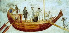 Roman mural from Ostia (a major Roman trading port) of merchant ship being loaded with grain. Dated back to II-III century CE. Located in Vatican Museum in Rome. Jar Design, Classical Period, Roman History, Bronze Age, Roman Empire, Ancient Greek, Middle Ages, Archaeology, Fresco