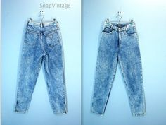 I owned a pair!  80s Acid Wash Jeans / Palmettos High Waist Jeans / Ankle Zip Denim Jeans