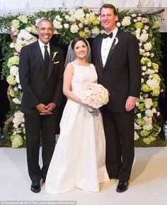 Over the weekend President Barack Obama (left) served as a groomsman in the wedding of his longtime staffer and most frequent golf partner Marvin Nicholson (right), as he exchanged vows with Helen Pajcic (center) Jan 2017