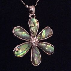 "PRICE FIRM NWT Adjustable 16-19"" necklace Centered w/ clear crystals. Abalone petals are resin coated. COMES IN ITS ORIGINAL. Circum:~5.5"". Diam:~1.75"" Lia Sophia Accessories"