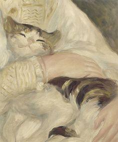wraithlings: Julie Manet with cat Pierre-Auguste Renoir. Pierre Auguste Renoir, Pablo Picasso, Julie Manet, Albert Schweitzer, Art Corner, Sculpture, French Art, Cat Art, Cool Cats