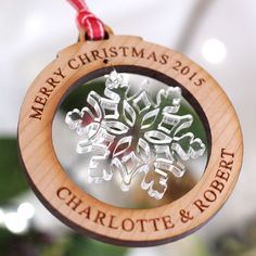 Personalised Wooden Merry Christmas Tree Decorations Snowflake Bauble Gift